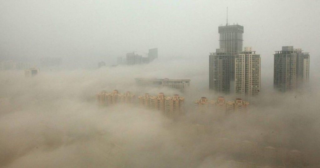 Smog and haze in one of China's polluted cities.