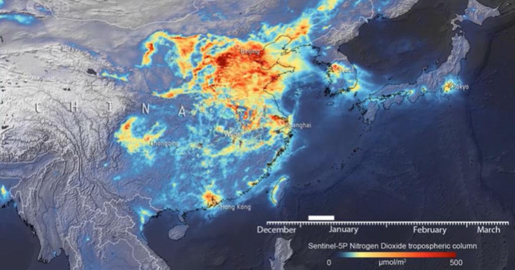 Nitrogen dioxide level in China